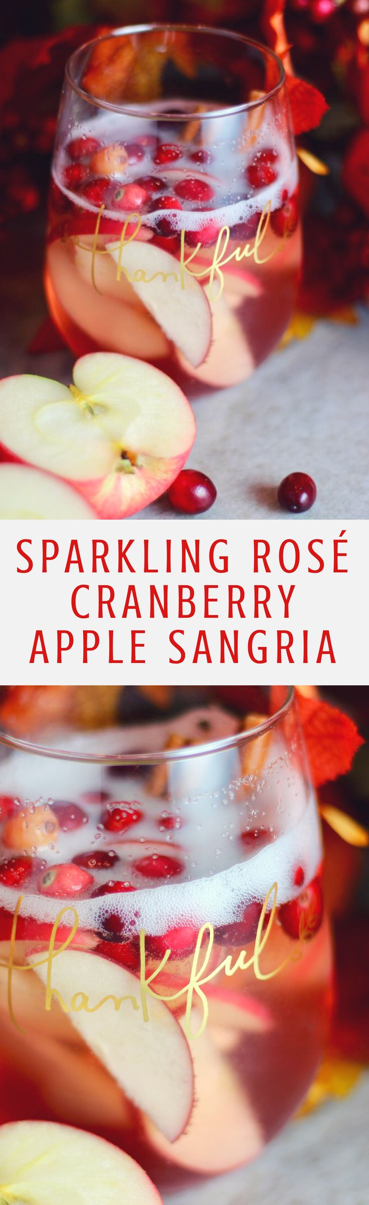 Thanksgiving Cocktail Sparkling Rose Cranberry Apple Sangria