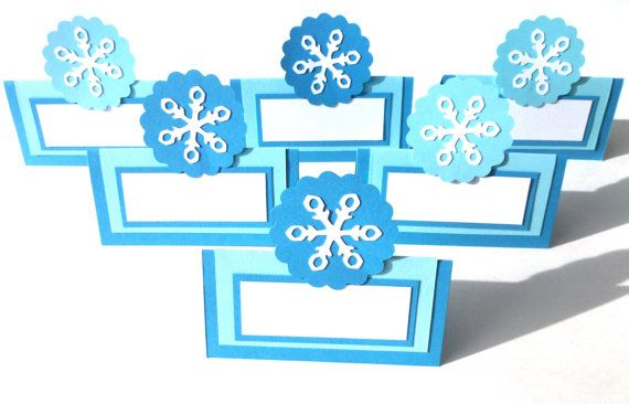Winter Blue Snowflake Themed 6 Tent Style Food by ScrapsToRemember