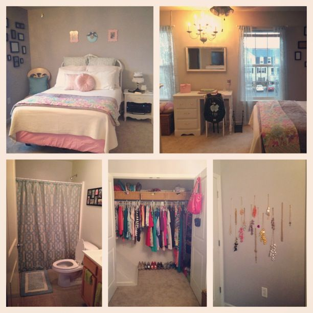 my perfect college apartment bedroom! grey pink & mint | Apartment ...