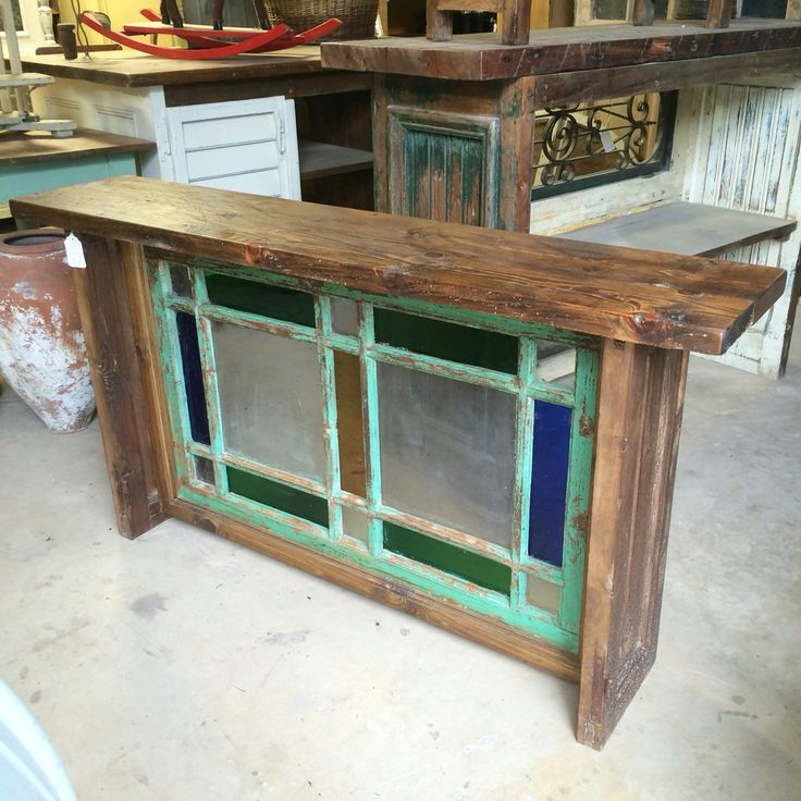 Console Table Designed From Unusual Antique Colored Glass Transom In  Original Aqua Blue Paint With Antique