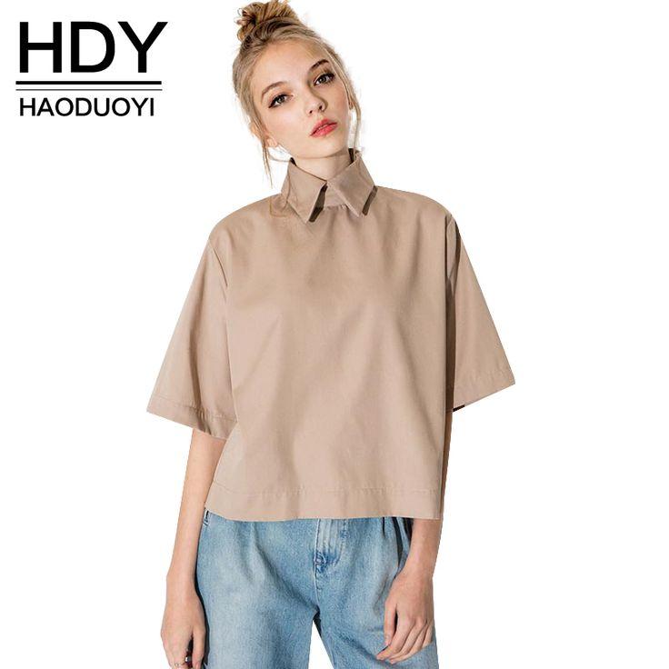 HDY Haoduoyi rétro preppy style chemise de mode tournent vers le bas blouse slim femmes t-shirt pour la vente en gros et livraison gratuite