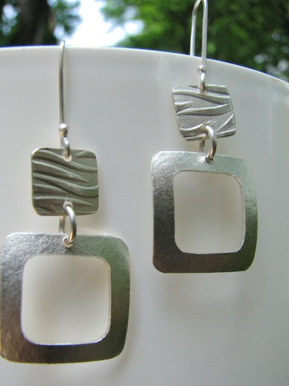 Silver Square Earrings with animal striped top square finished with a high contrast between an antique dark patina and bright stripes. The lower square will be smooth and polished. (Overall design based on the Modern Silver Square Earrings listing below) Thank you. These fun