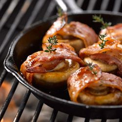 Bacon wrapped mushrooms