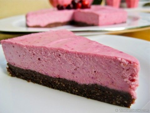 Raw Vegan Lemon Cranberry Cheesecake - a lovely, pink cheesecake for Valentine's Day