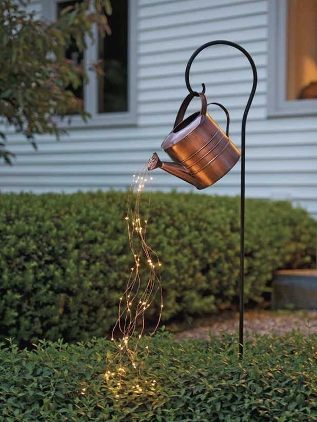 Star Shower Watering Can Decor With Lights Gardeners Com Outdoor Decor Backyard Diy Garden Decor Backyard Decor