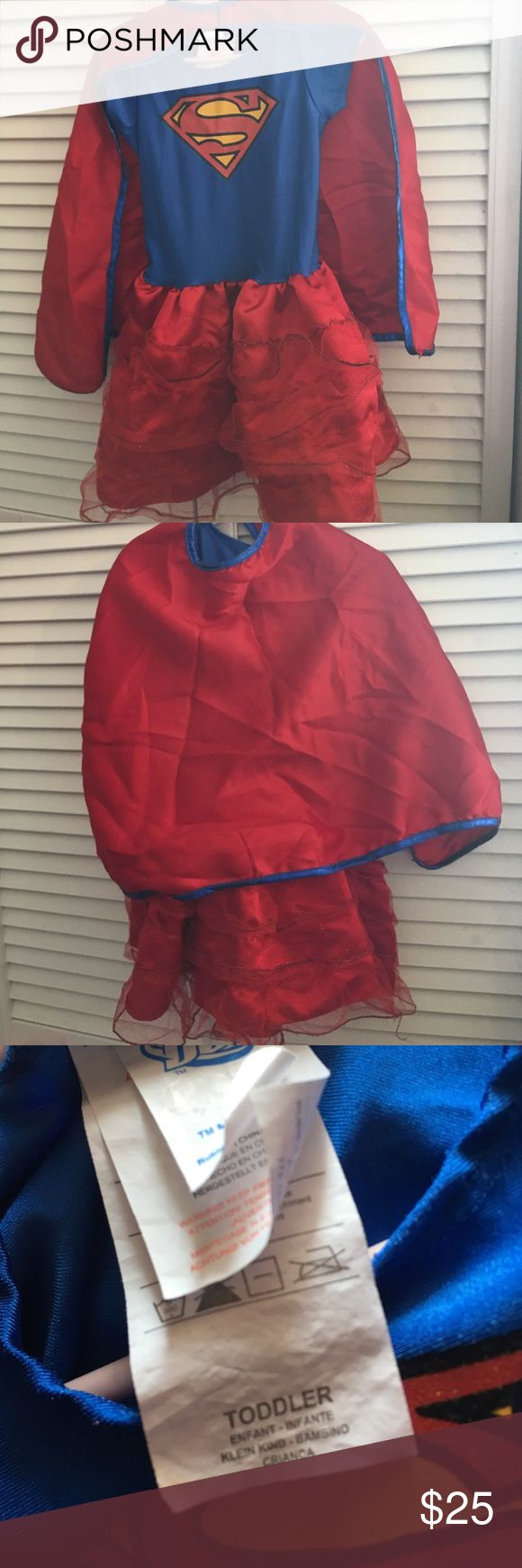 Super girl costume toddler Used for costume for Halloween, I would say this definitely would fit a 3 year old. DC Costumes Halloween