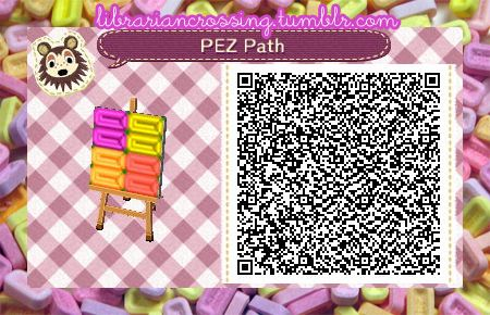 PEZ candy / sweets path by librariancrossing @ tumblr, for Animal Crossing: New Leaf (ACNL)