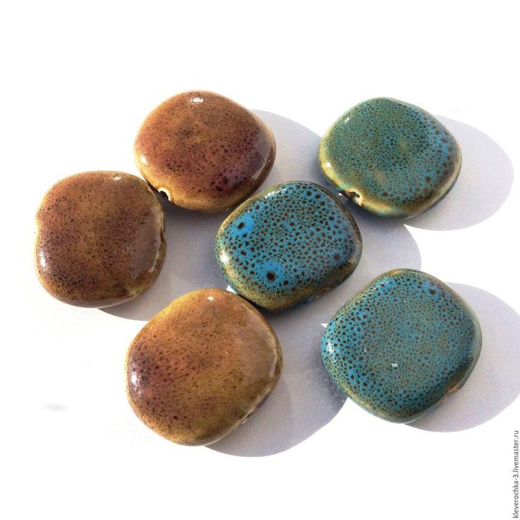 Купить Керамические бусины 2 цвета овал для украшений - ceramic porcelain beads, керамические бусины
