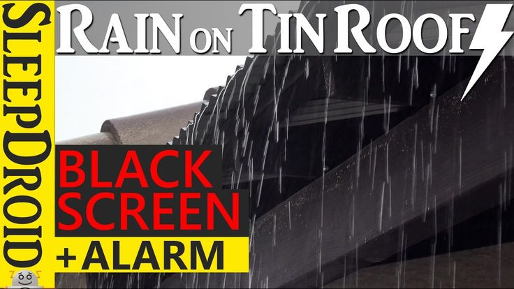 ⏰10 hours Hard Rain and Thunder on a Tin Roof with ALARM SOUND🔔 -Black S...