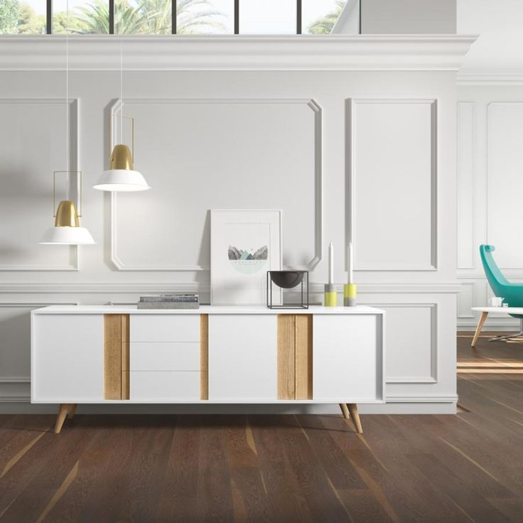 Contemporary sideboard in matt white/oak, sand/walnut or taupe/walnut finish with 3 doors and 3 drawers
