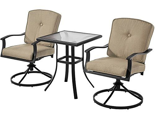 Patio Bistro Set Seats 2 Cushioned Swivel Chairs Outdoor Small E Deck Porch Tan Most Trusted Retailer