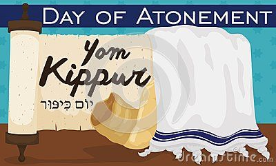 Banner with traditional scroll, white tallit with blue stripes and shofar horn over starry background to celebrate Jewish Yom Kippur or Day of Atonement -written in Hebrew-.