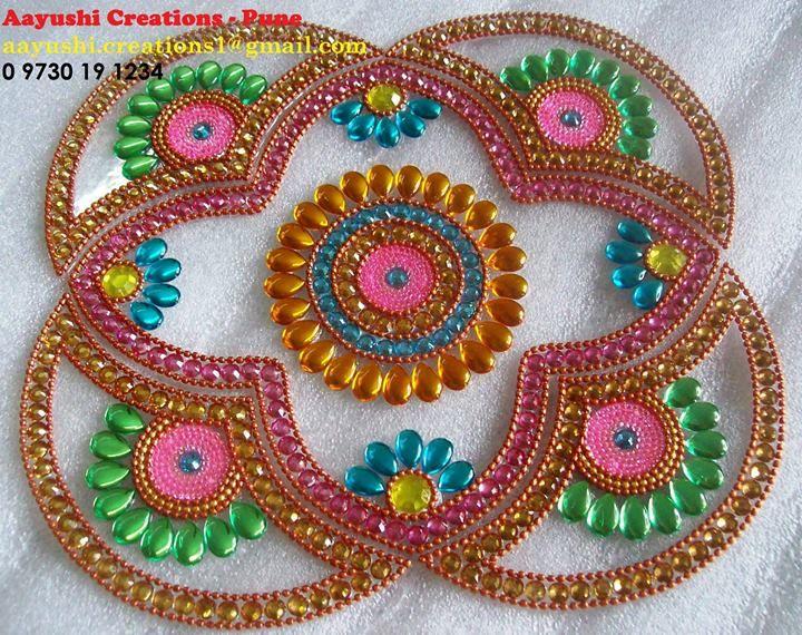 How to make kundan rangoli on ohp sheet crafts for Agal vilakku decoration