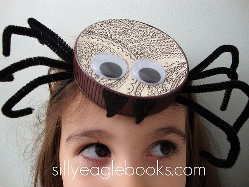 """Bottle Cap Spider Halloween Headband Tutorial - Cute! I was just thinking that it would make cute spider craft without the """"headband"""""""
