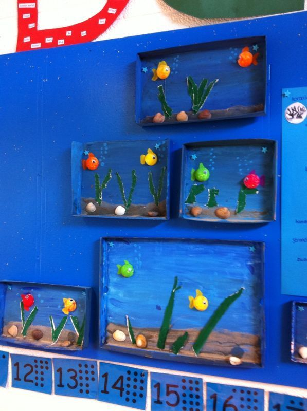 Making a small aquarium. You can use a letter box, shoe box lid, etc.