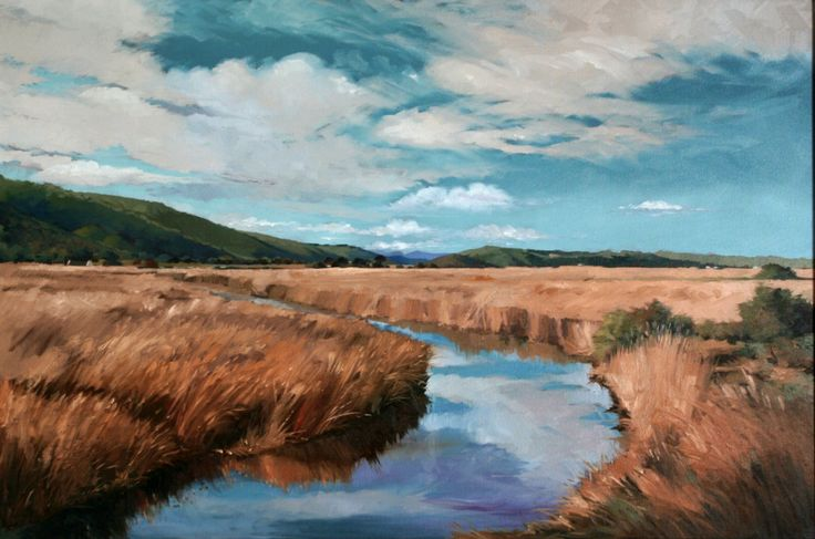 The Serpentine lagoon passing between 4 lakes. Oil on Canvas.
