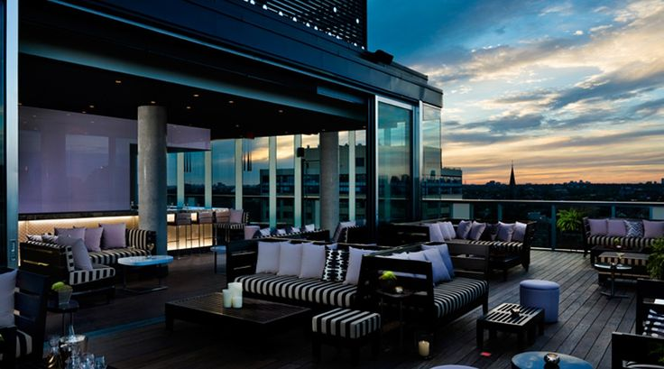 Rooftop Lounge  Thompson Hotel Toronto Breathtaking 360° views of the Toronto skyline and Lake Ontario, Toronto's premier rooftop is a chic and exclusive retreat for hotel guests and lounge members. Guests can dip in the infinity pool by day and...
