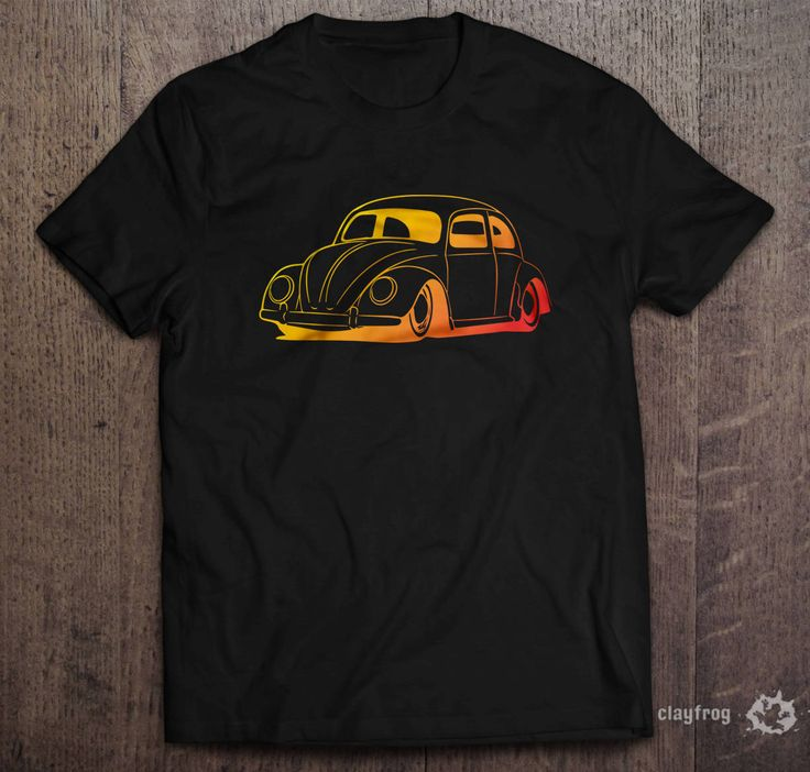 VW Rainbow Beetle / Novelty Themed Mens Black T-Shirt by Clayfrogs on Etsy