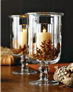 Leaf centerpiece: Ideas, Dollar Stores, Fall Decor, Glasses, Candles Holders, Leaves, Centerpieces, Fall Wedding, Center Pieces