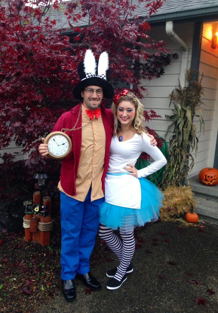 alice in wonderland alice white rabbit costumes halloween couples costume - Mens Couple Halloween Costumes
