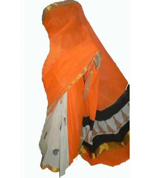 Orange Block Print Kerala Cotton Saree