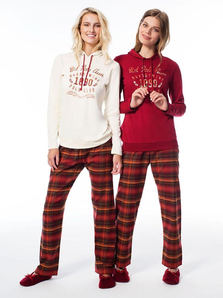 US Polo 15531 Bayan Kapüşonlu Pijama Takım   Mark-ha.com #markhacom #pijama #fashion #newseason #moda #trend #yenisezon #uspolo
