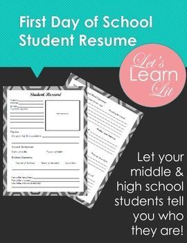 What is it?The First Day of School Student Resume is an ideal ice breaker for those day one jitters! Middle and high school will have the opportunity to give you a glimpse into their goals, extracurricular activities, and interests in a two-page resume format.Why is it needed?As a secondary teacher, you probably have around 100 students.