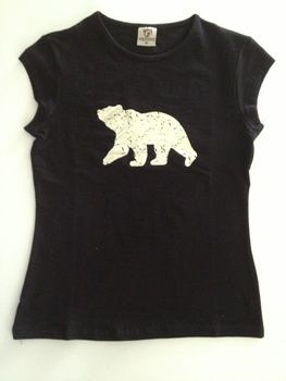 Female t shirt available in two colors, black and white.