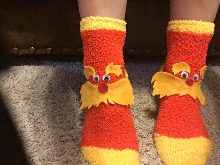 The Lorax socks for Silly Sock Day