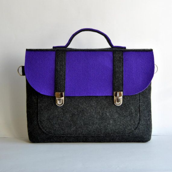 Felt laptop bag 17 MacBook AIR urban bag with a by kmBaggies