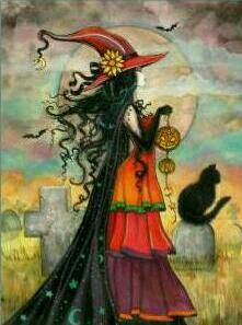 Witch Way - Halloween Witch and Black Cat Giclee Print of Original Painting by…                                                                                                                                                                                 Mais