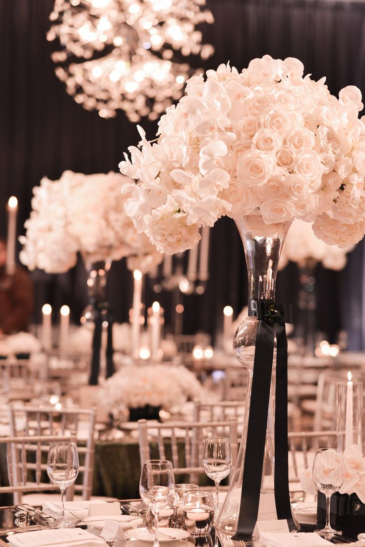 Sophisticated Wedding Reception Ideas Tie A Black Ribbon Around The White  Low Centerpieces
