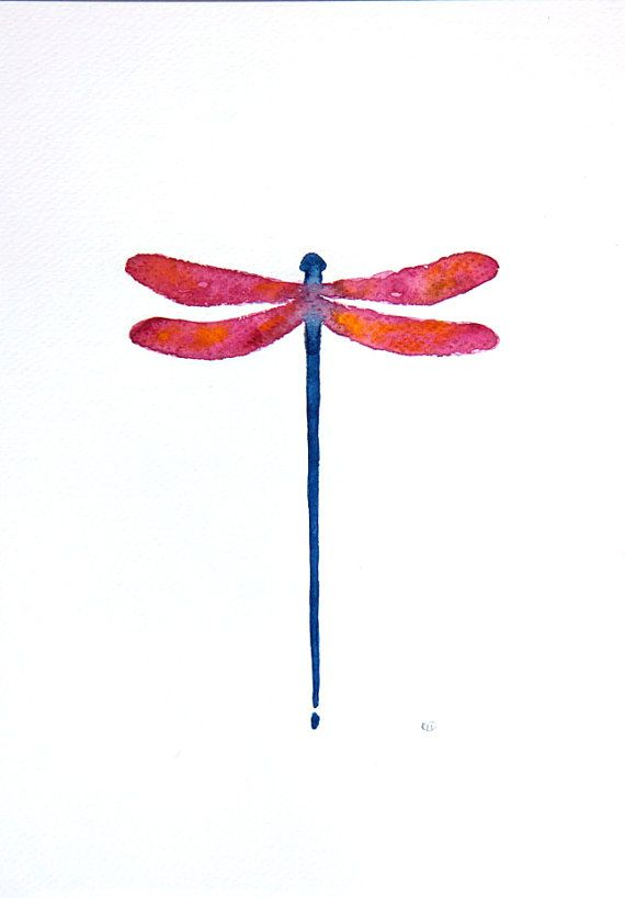 Original painting dragonfly watercolor illustration A4 by VApinx, $35.00