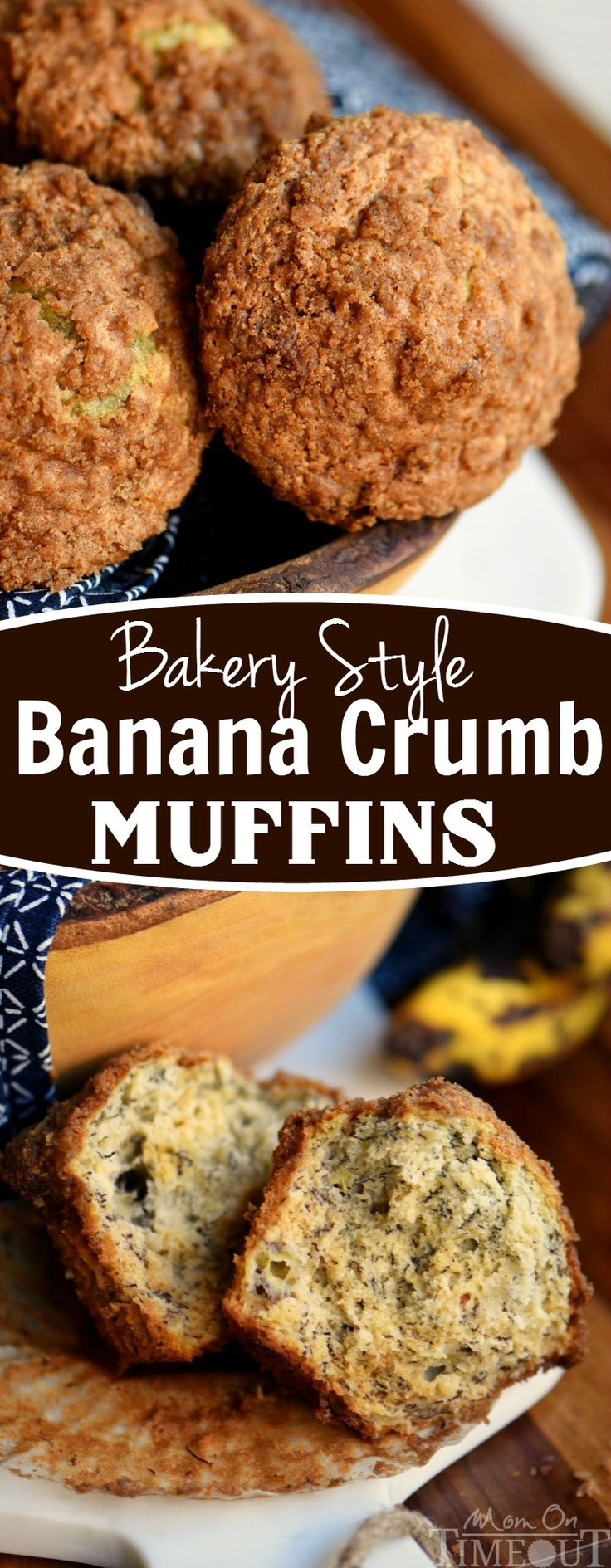 Skip the bakery! Make these instead! Extra moist and delicious, these Bakery Style Banana Crumb Muffins are the BEST way to use up those ripe bananas!