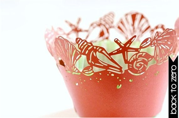 20 Seashell Sea Shell Laser Cut Cupcake Wrappers Wraps - 15 Colors Available on Etsy, $12.00