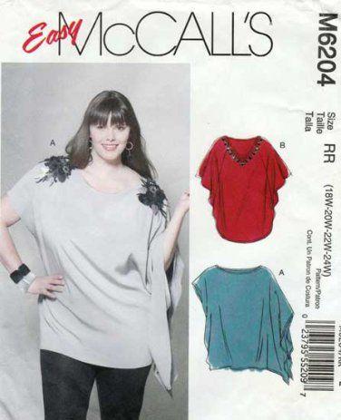 e6b135cf741 McCall's M6204 6204 Women's Tunic Top Sewing Pattern Plus Size  18W-20W-22W-24W UNCUT
