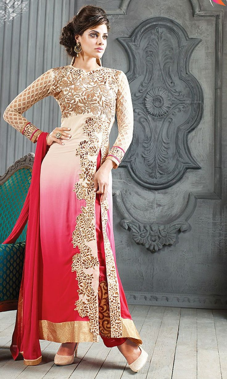 Red and White Embroidered Georgette Designer Anarkali Suit-Online Shopping-3