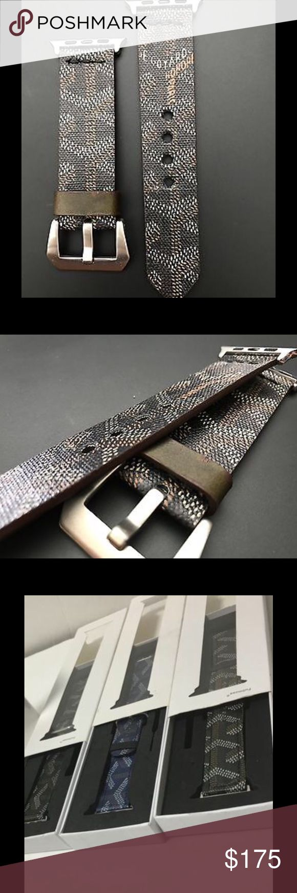 Goyard Apple Watch strap/band Goyard Apple Watch strap handmade from 100% authentic Goyard bag material. Currently have red, black, and blue in stock. All 3 colors available for both the 38mm and 42mm Apple Watch. Upon checkout please indicate your preferred color and size. Open to reasonable offers. Please inquire about discounted pricing! Please ask any questions. Thanks and have a great day :) Goyard Accessories Watches