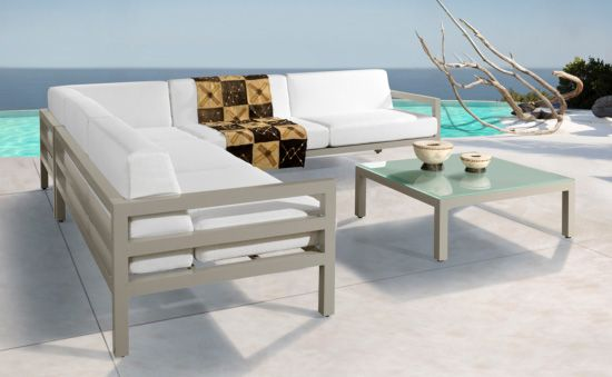 Horizon Modular Lounge Suite. Powder Coated Aluminum, Kiaat Wooden Arm Cladding. Outdoor Patio Furniture. Removable Cushions. Outdoor Covers Available. Customizable Frame, Fabric and Polycane Colors.