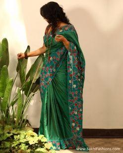Green & Multi Pure Tussar Silk Saree