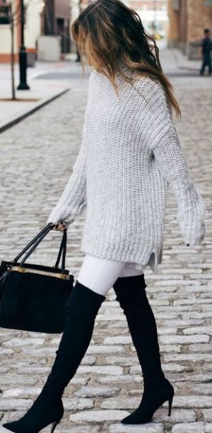 White jeans look great with a black thigh high boots outfit!