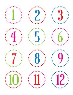 FREE printable number stickers (1-24) / christina william