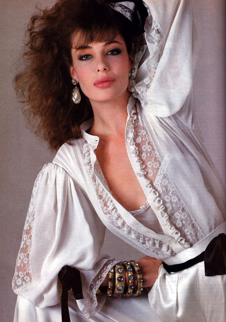 Richard Avedon for American Vogue, November 1981. Clothing by Oscar de la Renta.Model:Kelly LaBrock