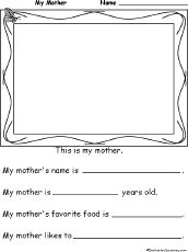 Mothers Day worksheet. Ideas for mothers day in Primary.