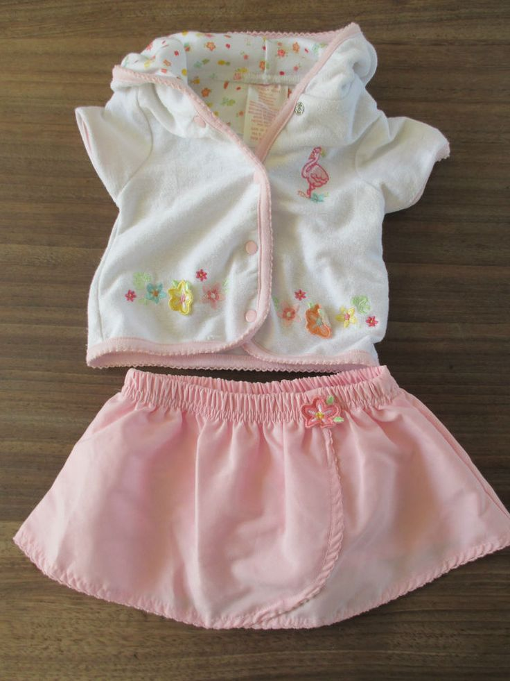 Baby girls pink & white floral themed jacket and skirt age 0-3 months