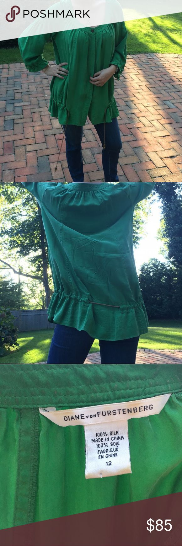 "Diane Von Furstenberg Green Silk Tunic Excellent condition. 100% Silk. ALL items are authentic. Model is 5'7"" and 135 lbs. Offers welcome, as everything must be gone by mid-November. Diane von Furstenberg Tops Blouses"