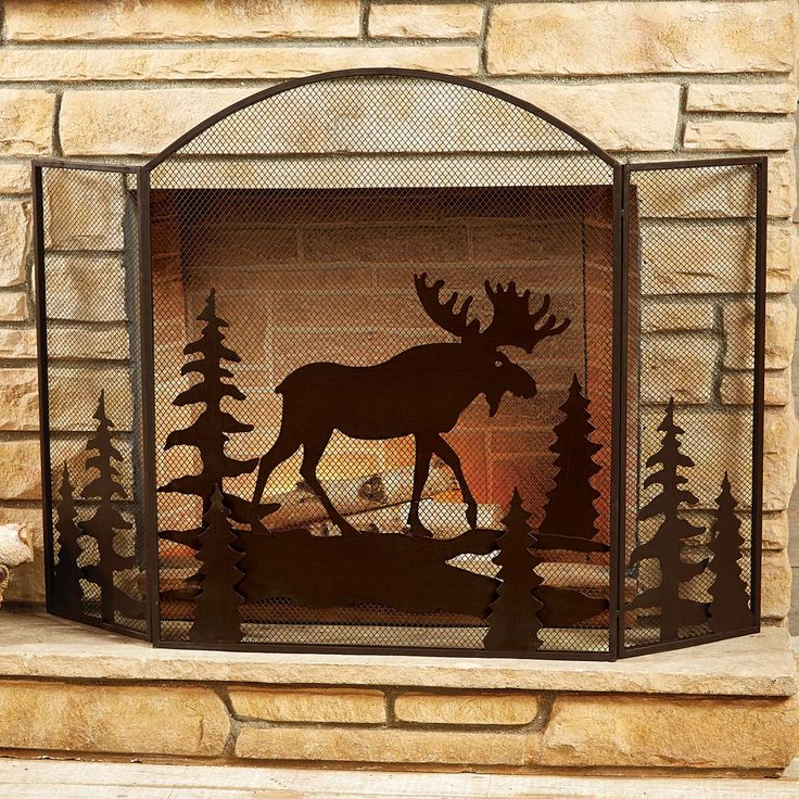 Moose Fireplace Screen Best 25  Rustic fireplace screens ideas on Pinterest