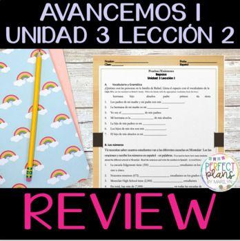Avancemos 1 Unidad 3 Leccion 2 Review | Activities ...