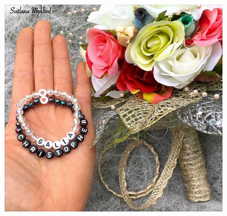 """Lot de 2 Bracelets """"Galia et Christopher"""". Bracelets personnalisés avec prénom ou message de mariées : Bracelet par perles-et-couronnes"""