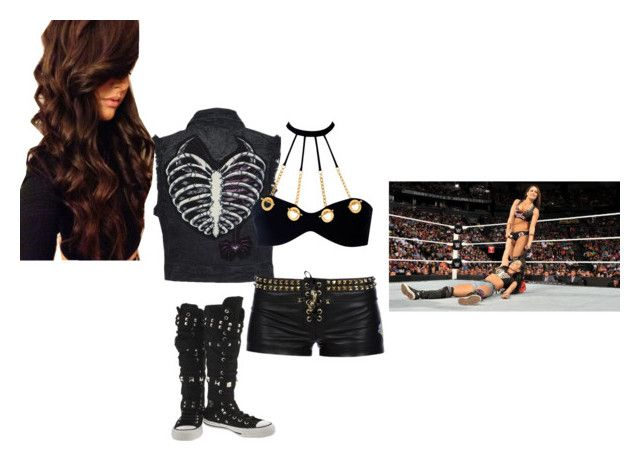Outfit 96: Saving Your Sister, AJ Lee From Nikki Bella by mandi-hatter on Polyvore featuring Philipp Plein, Agent Provocateur, Converse, Marvel Comics, WWE, ajlee, wwedivas and nikkibella
